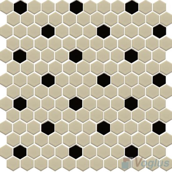 Beige 1 inch Hexagon Shaped Ceramic Mosaic Tile VC-US96