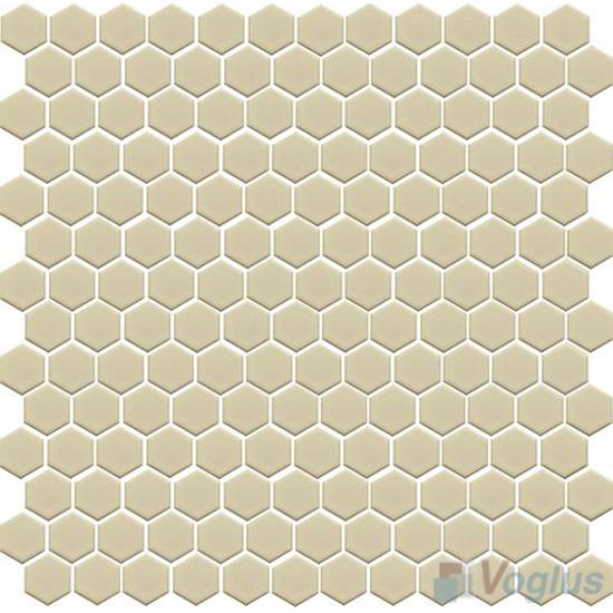 Beige 1 inch Hexagon Shaped Ceramic Mosaic VC-US98
