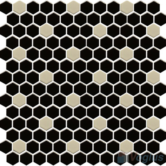 Black Inch Hexagon Shaped Ceramic Mosaic Tile VCUS Voglus Mosaic - 1 inch hexagon ceramic tile