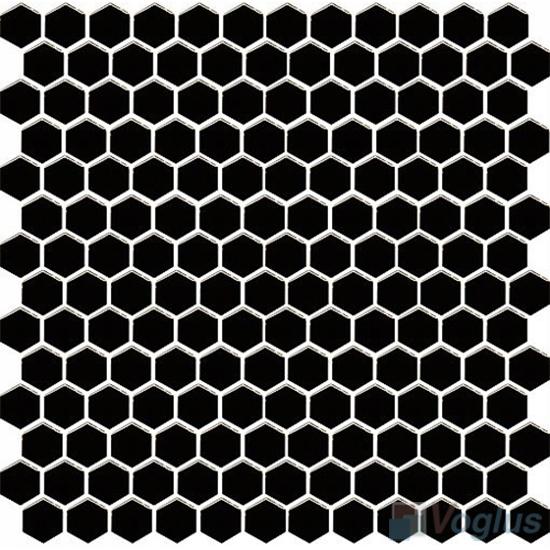 Black 1 inch Hexagon Shaped Ceramic Mosaic VC-US99