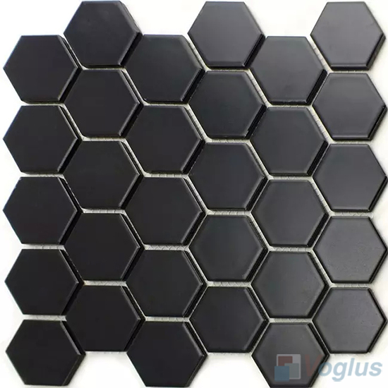 Black 2 inch Hexagon Porcelain Mosaic VC-BW96