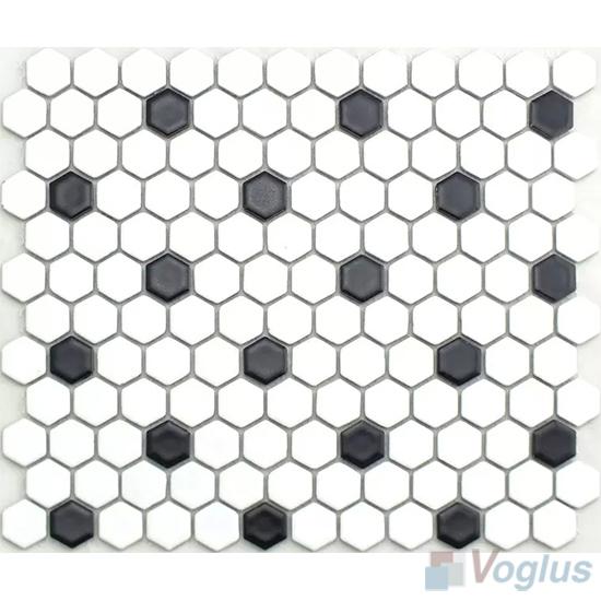 Black White 1 inch Hexagon Porcelain Mosaic VC-BW94