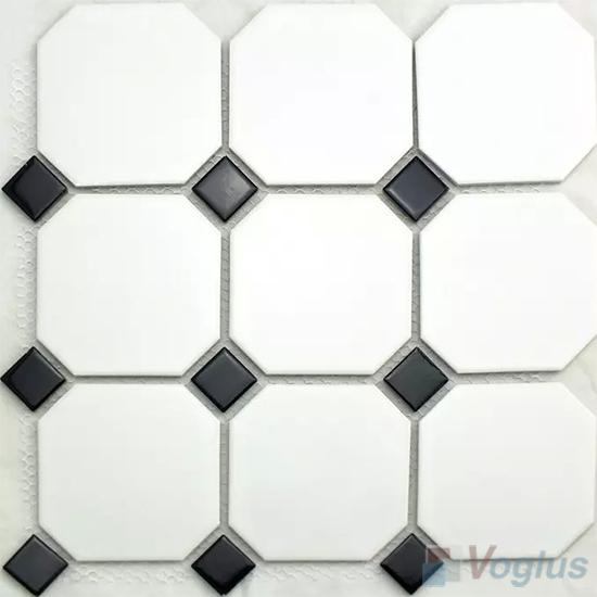 Black White Large Octagon Porcelain Mosaic VC-BW93