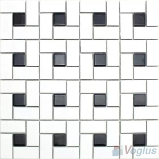 Black White Pinwheel Porcelain Mosaic Tiles VC-BW98