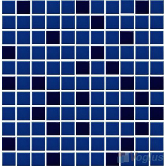 Blue Blend 25x25mm 1x1 inch Plain Pool Ceramic Mosaic Tiles VC-PL85