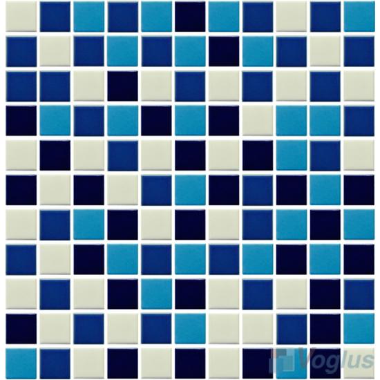 Blue Blend 25x25mm 1x1 inch Plain Pool Ceramic Mosaic Tiles VC-PL87