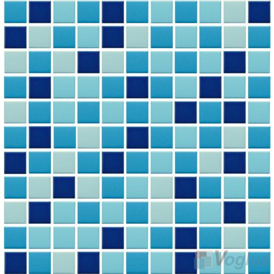 Blue Mixed 25x25mm 1x1 inch Plain Pool Ceramic Mosaic VC-PL89