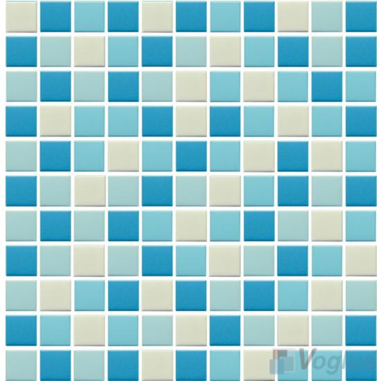 Blue Mixed 25x25mm 1x1 inch Plain Pool Ceramic Mosaic VC-PL90