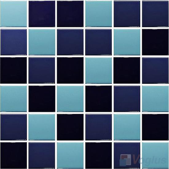 Blue Mixed 48x48mm 2x2 inch Plain Pool Ceramic Mosaic Tiles VC-PL91