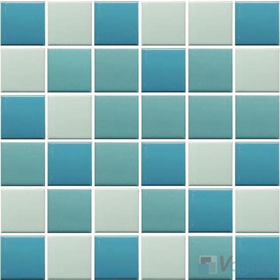 Blue Mixed 48x48mm 2x2 inch Plain Pool Ceramic Mosaic Tiles VC-PL92
