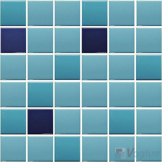 Blue Mixed 48x48mm 2x2 inch Plain Pool Ceramic Mosaic VC-PL94