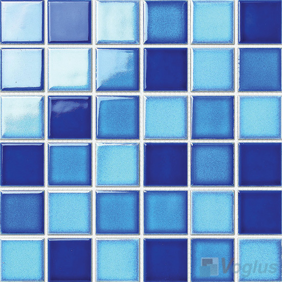 Blue Mixed 48x48mm 2x2 inch Swimming Pool Ceramic Mosaic Tiles VC-SP87