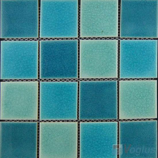 Blue Mixed 75x75mm 3x3 inch Swimming Pool Ceramic Mosaic VC-SP92
