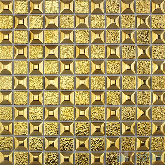 Gold 23x23mm 1x1 inch Metal Plated Ceramic Mosaic Tiles VC-PT96