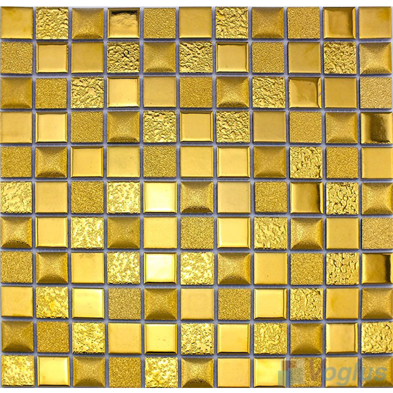 Gold 23x23mm 1x1 inch Metal Plated Ceramic Mosaic VC-PT99