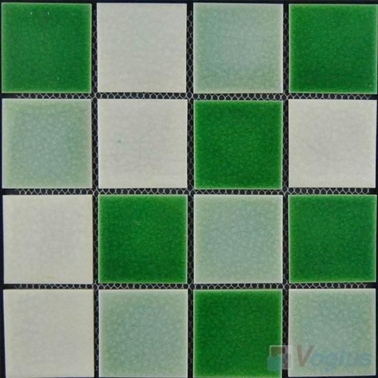 Green Mixed 75x75mm 3x3 inch Swimming Pool Ceramic Mosaic VC-SP93