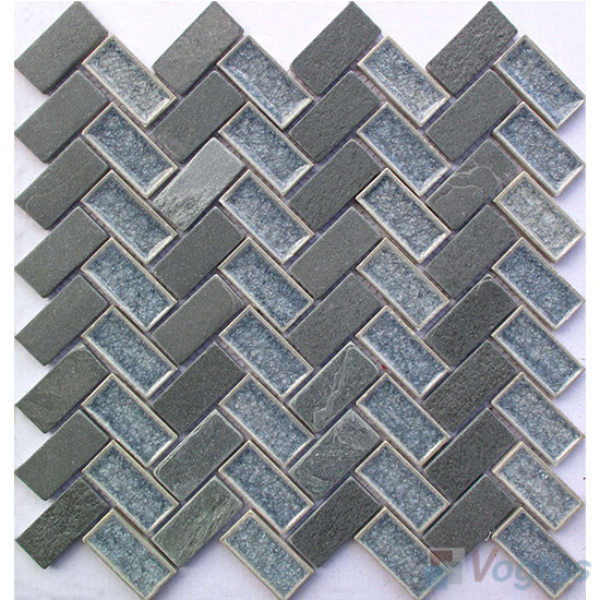 Herringbone Stone Mixed Ceramic Mosaic VB-SC91