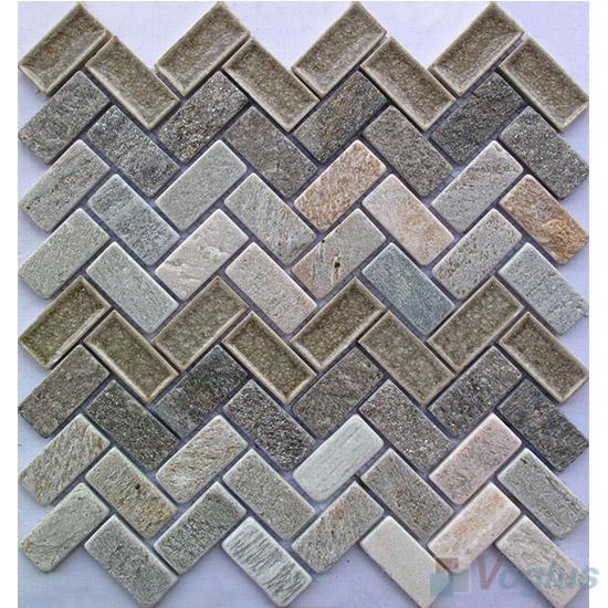 Herringbone Stone Mixed Ceramic Mosaic VB-SC92