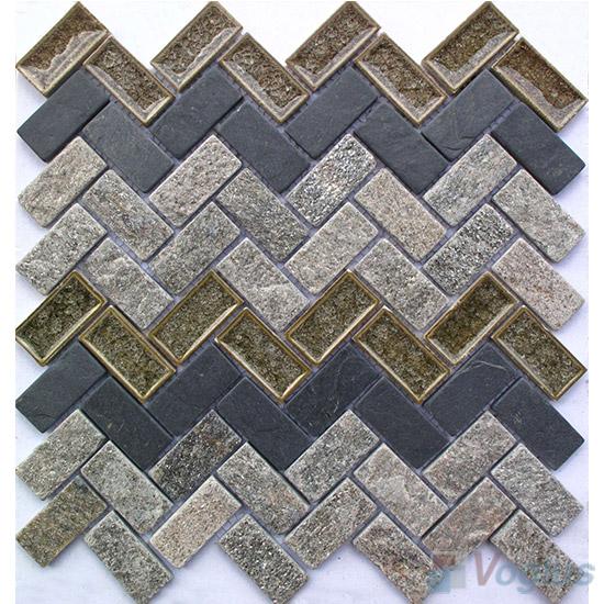 Herringbone Stone Mixed Ceramic Mosaic VB-SC93
