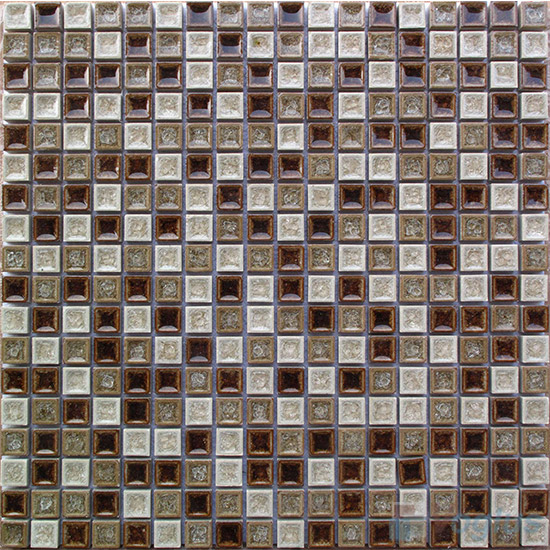 Mixed 15x15mm Ice Crackled Ceramic Mosaic Tiles VC-TT92