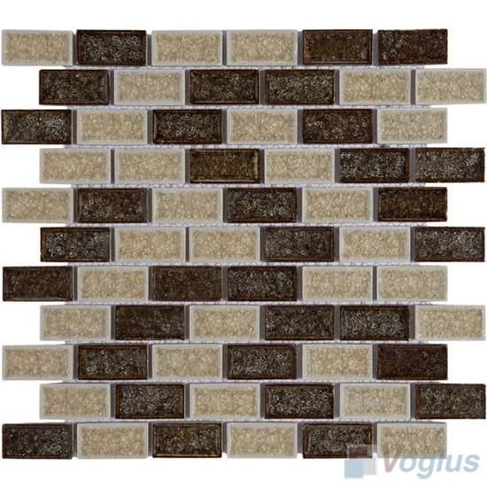 Mixed Subway Ice Crackled Ceramic Mosaic VC-TT98