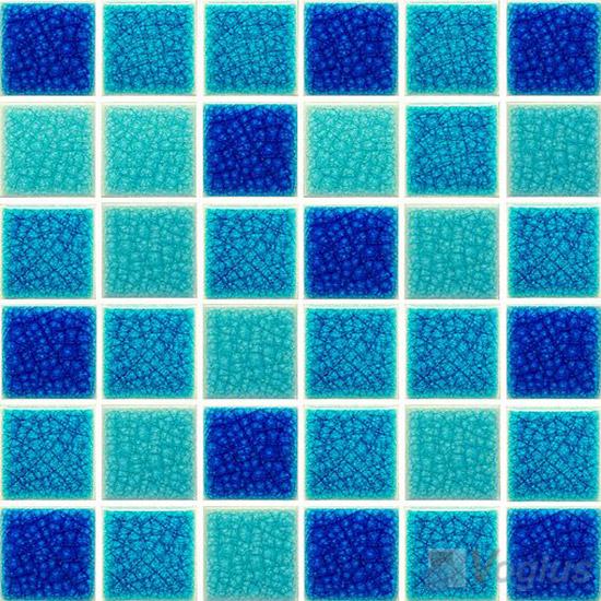 Nano Blue 2x2 Ice Crackled Ceramic Mosaic Tiles VC-CK94