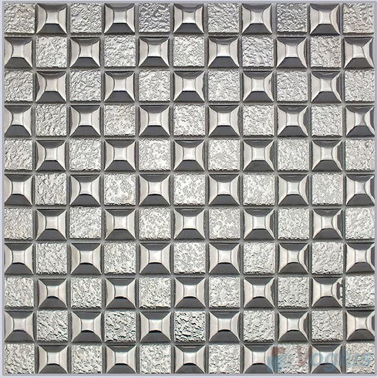 Silver 23x23mm 1x1 inch Metal Plated Ceramic Mosaic Tiles VC-PT95