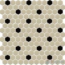 Beige Inch Hexagon Shaped Ceramic Mosaic Tile VCUS Voglus Mosaic - 1 inch hexagon ceramic tile