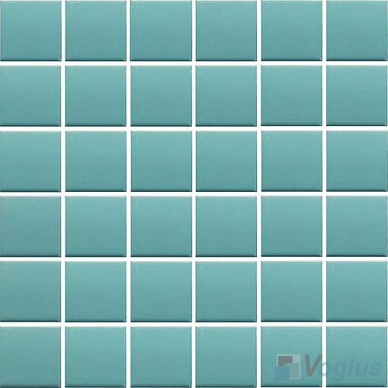 Turquoise 48x48mm 2x2 inch Plain Pool Ceramic Mosaic VC-PL98