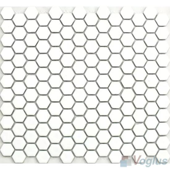 White 1 inch Hexagon Porcelain Mosaic VC-BW95