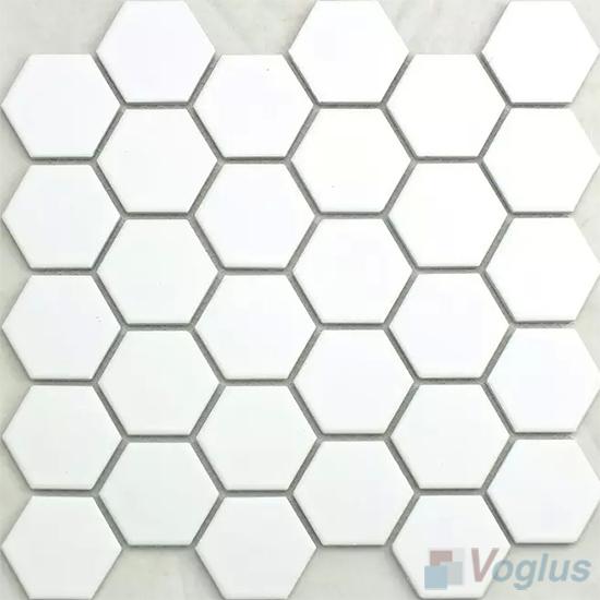 White 2 inch Hexagon Porcelain Mosaic Tiles VC-BW97