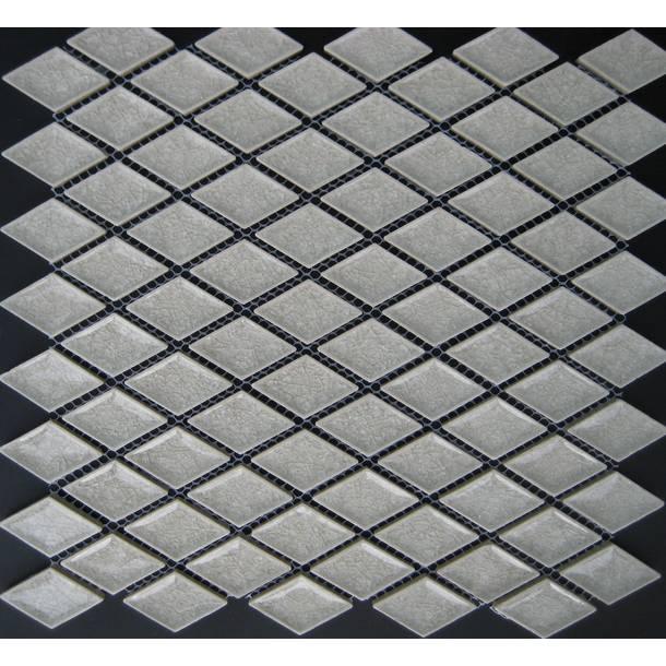 White Rhombus Diamond Ice Crackled Ceramic Mosaic Tiles VC-TT91