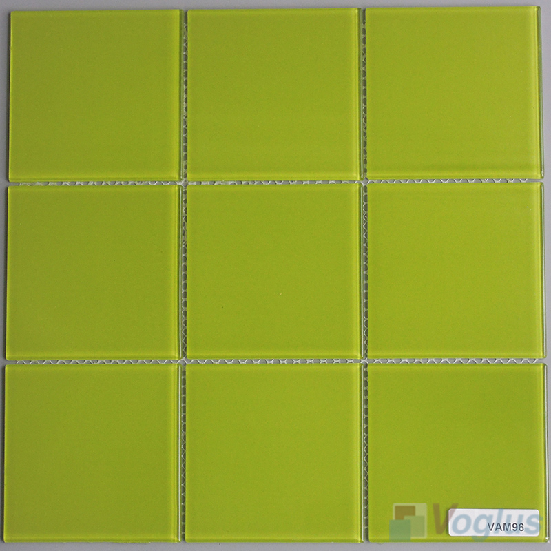 Apple Green 100x100mm 4x4 inch Glass Wall Mosaic Tile VG-CYN96
