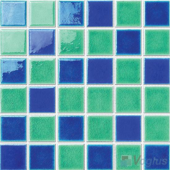 Blue Mixed 48x48mm 2x2 inch Swimming Pool Ceramic Mosaic Tiles VC-SP85