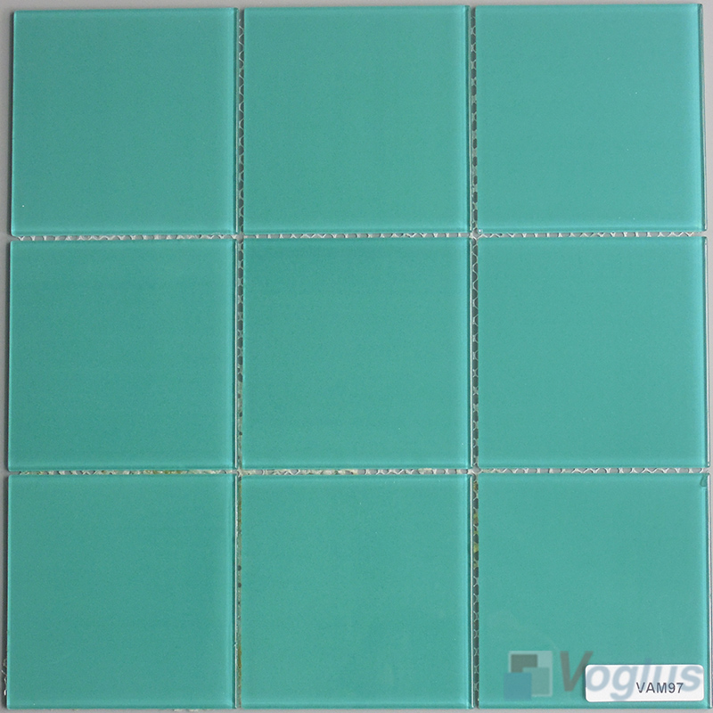 Bluish Green 100x100mm 4x4 inch Glass Mosaic Wall Tile VG-CYN99
