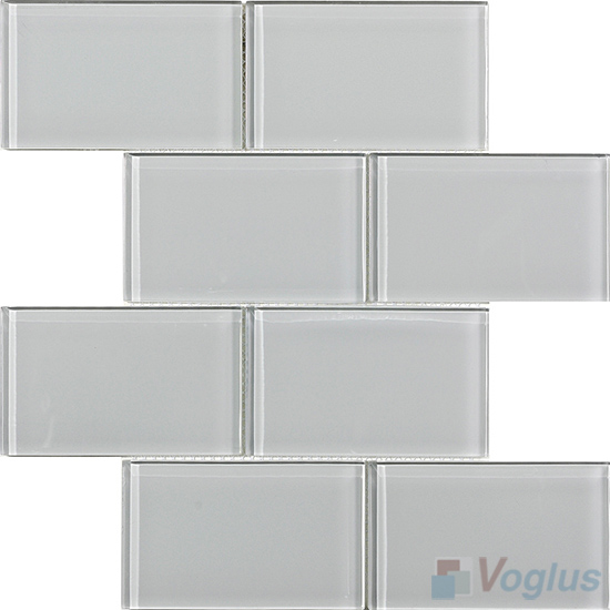 Light Gray Subway 3x6 inch Brick Glass Tiles VG-CYZ97
