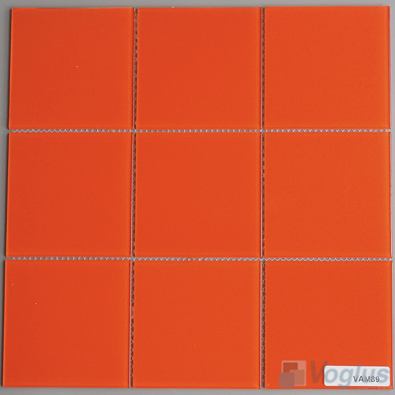 Orange 100x100mm 4x4 inch Glass Wall Mosaic Tile VG-CYN95