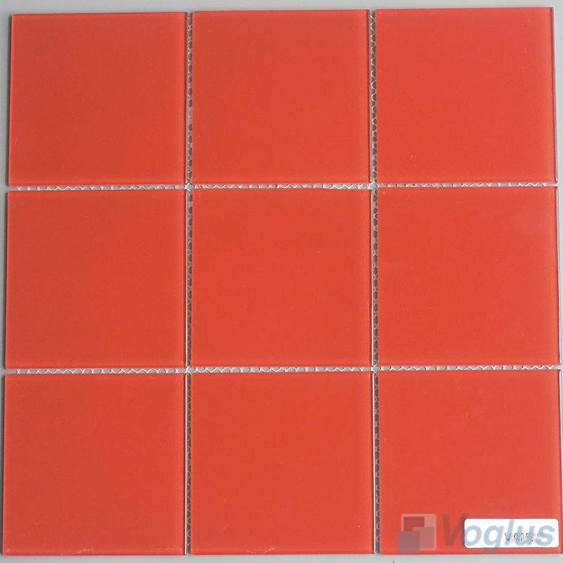 Red 100x100mm 4x4 inch Glass Mosaic Wall Tile VG-CYN98