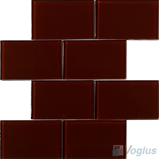 Rosewood Subway 3x6 inch Brick Glass Tiles VG-CYZ95