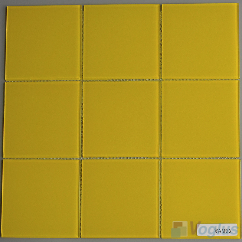Yellow 100x100mm 4x4 inch Glass Wall Mosaic Tile VG-CYN94