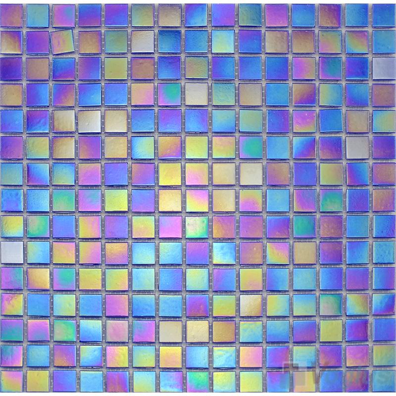 20x20mm Rainbow Iridium Glass Mosaic Tiles VG-RDR89