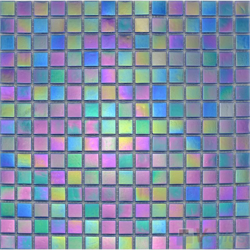 20x20mm Rainbow Iridium Glass Mosaic Tiles VG-RDR90