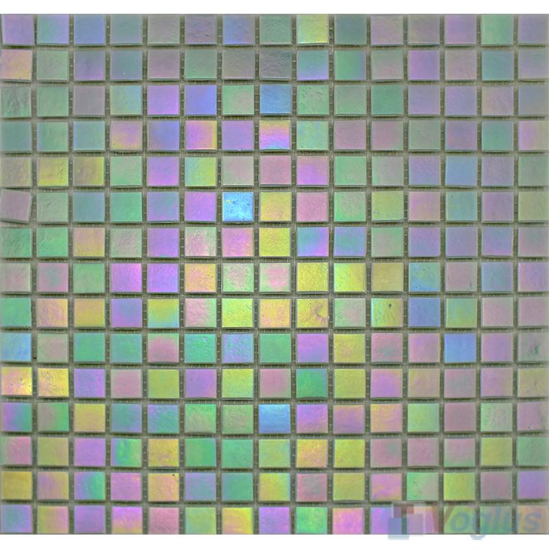 20x20mm Rainbow Iridium Glass Mosaic Tiles VG-RDR96