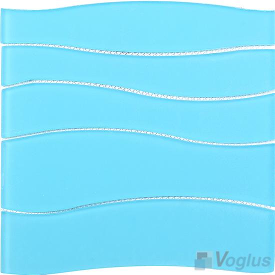 Aqua Blue Wavy Waterjet Glass Tile VG-UWJ86