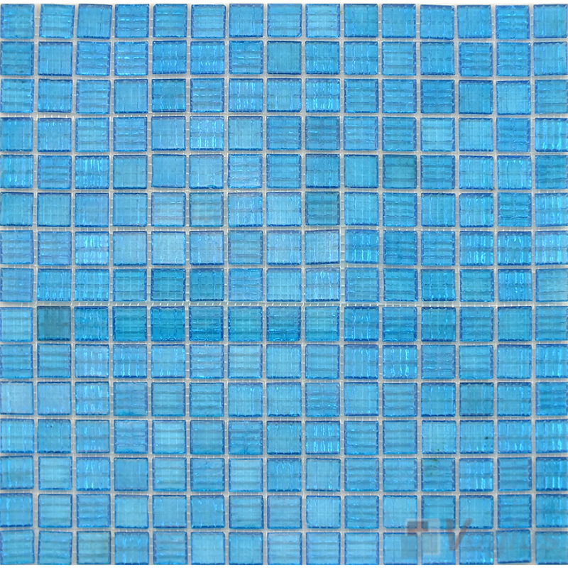 Baby Blue 20x20mm Gold Star Glass Mosaic VG-GLS86