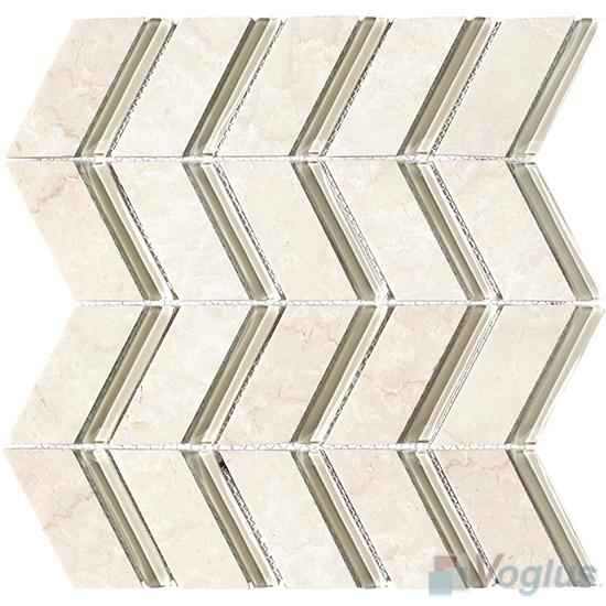 Beige Herringbone Pattern Glass Mosaic VG-UHB91