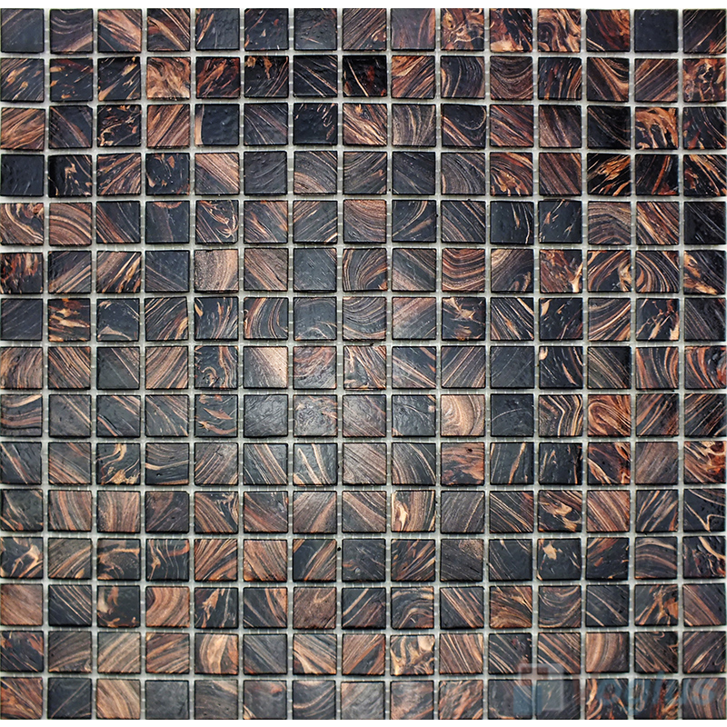 Black 20x20mm Gold Line Glass Mosaic VG-GLS94