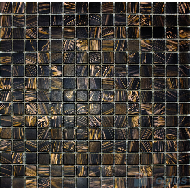 Black 20x20mm Gold Star Glass Mosaic Tile VG-GLS88