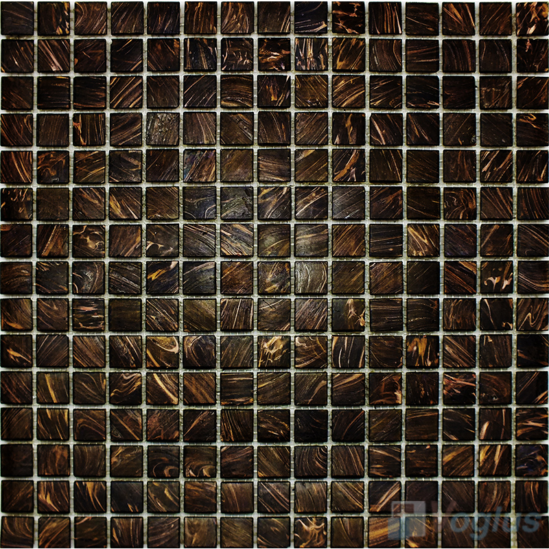 Black 20x20mm Gold Star Glass Mosaic Tile Vg Gls89