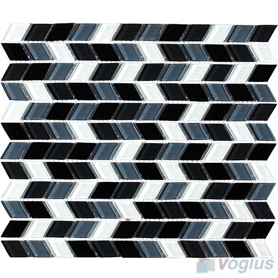 Black Diamond Shaped Wavy Glass Mosaic VG-UDM94